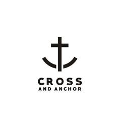 cross anchor ship boat christian catholic logo vector image