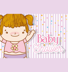 cute baby girl with stars and figures background vector image