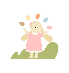 cute bunny in pink dress juggling with colorful vector image