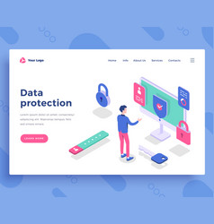 Data protection concept office man and interact vector