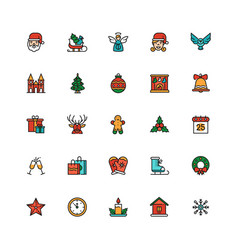 December holiday symbols colorful linear icons set vector
