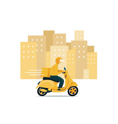 delivery man riding a scooter vector image
