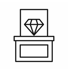 Diamond on a pedestal icon outline style vector image