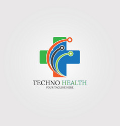 digital health icon template logo technology for vector image