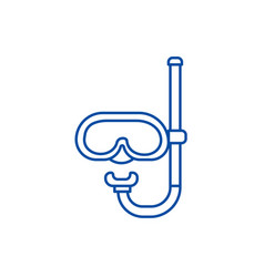 Diving mask line icon concept diving mask flat vector