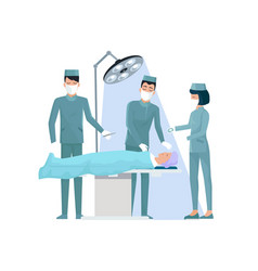 Doctors and nurse in operation vector