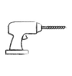 drill tool icon monochrome blurred silhouette vector image