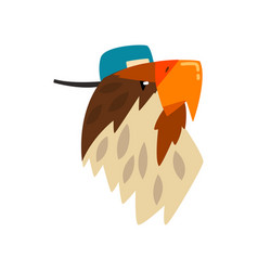 Eagle wearing baseball cap bird portrait cartoon vector