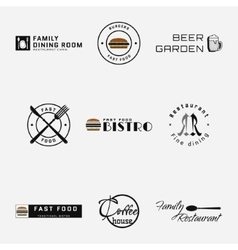 Fast food badges logos and labels for any use vector