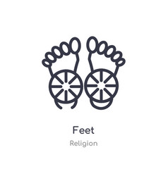 Feet outline icon isolated line from religion vector