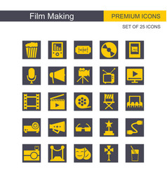 Film making icons set grey and yellow vector