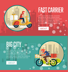Food carrier service posters with couriers vector