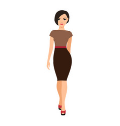 girl in a brown dress vector image