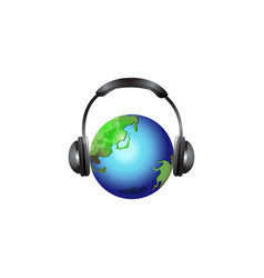 globe with headset isolated vector image