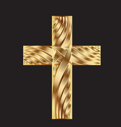 Gold cross symbol vector