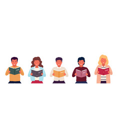 group people reading books young stylish vector image