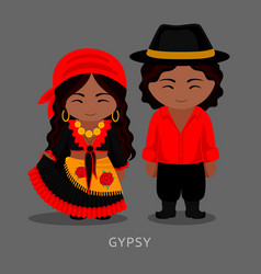 gypsies in traditional costume romany vector image