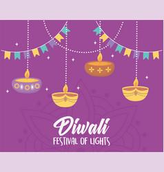 happy diwali festival hanging diya lamps candles vector image