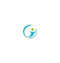 happy people round logo vector image