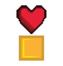 Heart game pixel figure vector