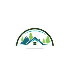 home mountain nature tree logo vector image
