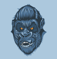 horrible view gorilla face with orange eyes vector image