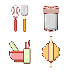 Kitchen tool icon set cartoon style vector