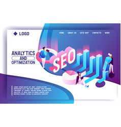landing page concept in isometric style with vector image