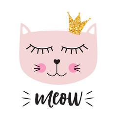 little cute cat princess vector image