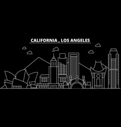 los angeles silhouette skyline usa - los angeles vector image