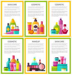 Lot of skin care makeup cosmetic color banners vector
