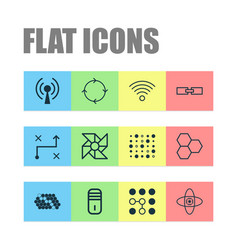 machine icons set with wireless network loop vector image