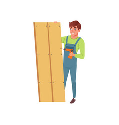 Male professional carpenter building a wooden vector