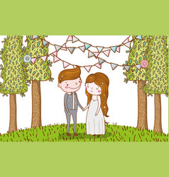 man and woman wedding with party flags vector image