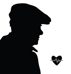 Man with heartbeat icon silhouette vector