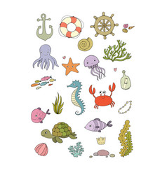 marine set sea theme vector image