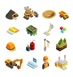 Mining Isometric Icons Set vector