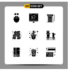 Mobile interface solid glyph set 9 pictograms vector