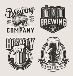 monochrome brewery vintage emblems vector image