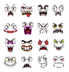 Monster face emoji cartoon scary emoticons vector