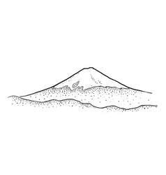 mountain fuji in japan vintage black vector image