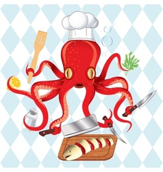 octopus cooking sushi and fish vector image