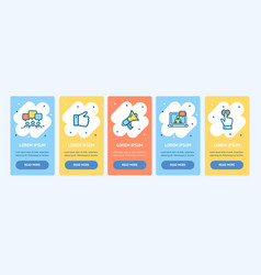 oneboarding app screens banners cards set vector image