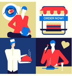online food ordering - flat design style colorful vector image