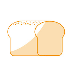 Orange silhouette shading cartoon long bread food vector