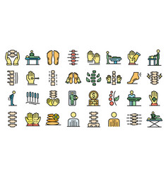 osteopathy icons set flat vector image