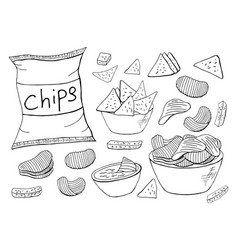 outline chips collection on white background vector image