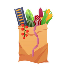 paper shopping bag products grocery different vector image