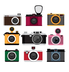 Photo cameras icons set Isolated icons vector image