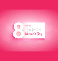 pink womans day greeting card design vector image